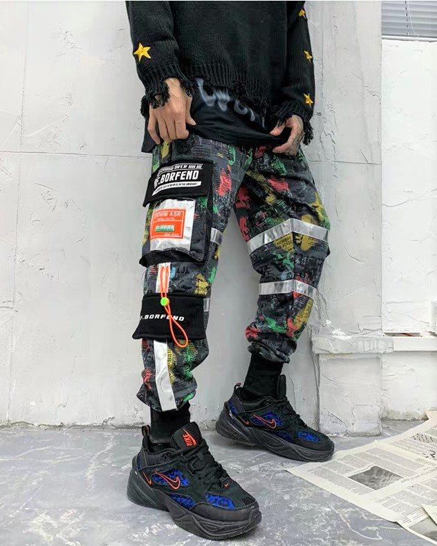 マルチカラーコットンカーゴジョガーパンツの画像1